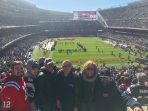 Bears vs Patriots - Paula Bowe of Josam Company Steve Fiskio of Fiskio Inc., Derek Araujo, Nick Araujo and Derrick Araujo of Araujo Brothers, Luis Machado of Portland Pipe.