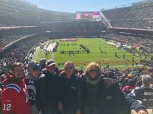 Bears vs Patriots - Paula Bowe of Josam Company Steve Fiskio of Fiskio Inc., Derek Araujo, Nick Araujo and Derrick Araujo of Araujo Brothers, Luis Machado of Portland Pipe.