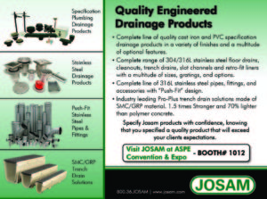 Josam Company -Plumbing Engineer - Sept_ASPE_Show_Issue_AD
